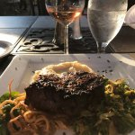 Great outdoor patio. Excellent filet mignon, white cheddar smashed potatoes, Brussels, spinach s