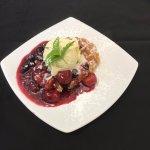 Warm Belgium Waffle with Mixed Berries and Vanilla Ice Cream