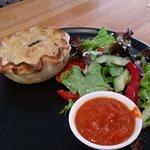 GF beef pie with salad