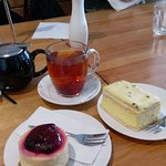 GF cheesecake and passionfruit vanilla slice