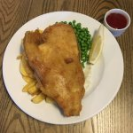 yummy fish n chips and a generous portion of fish and light batter.