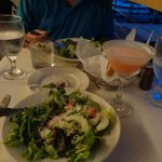 Drink and salad.