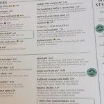 Glimpse of menu