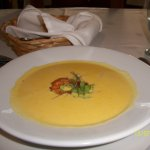 maiz (corn) soup with a large shrimp