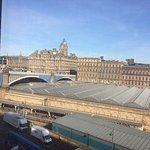View over Waverley Station from hotel room