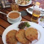 Mixed dumplings and Potato pancakes with wild mushrooms sauce