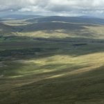 Top of Ingleborough. View of Ribble viaduct.