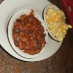 baked beans and mac & cheese