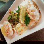 Cream cheese bagel topped with Prawn and marie-rose. Served with mixed salad and coleslaw