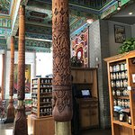 Inside the Teahouse. Notice the tiles, carved columns. Beautiful!