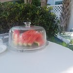 While we were outside, the owner brought us watermelon, we were spoiled there!