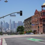 View of downtown LA from Mariachi Plaza