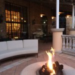 Fire pit and seating area right outside the restaurant.