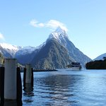 Incredible views of Mitre Peak before you board the cruise