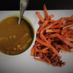 Cup of Lentil Soup & Sweet Potato Fries. I added excess sloppy Joe's (vegan) meat to fries.