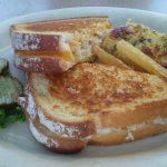 Grilled turkey and cheese and The fish and fries comes with cup of chowder and bread
