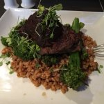 Braised short ribs with farro risotto