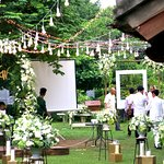 White wedding in Summer time at Softwater Restaurant