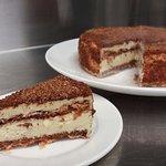 Hazelnut meringue cake - layered with a vanilla mousseline cream.
