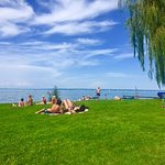 Local pool and beach area near lake constance.