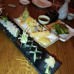 Asparagus, Veg tempura and Cucumber and vege rolls