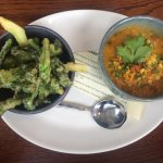 Broccoli tempura and carrot dahl
