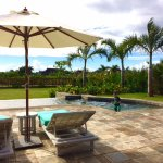 Private overflow pool and sun loungers
