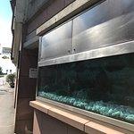 Eingang zum Goldenen Karpfen, das Aquarium ist aber leer