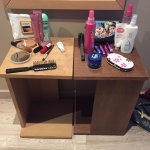 more furniture up to room to make a dressing table! embarassing