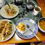 Our finished yellow curry and pad thai. So good.