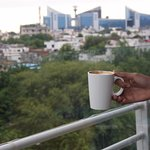cappuccino with city view