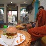 Guest enjoting burgers