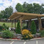 arbor covered outdoor seating