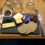 selection of scottish cheeses served with oatcakes, celery, grapes an arran spiced fruit chutney