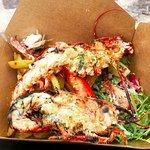 Half lobster, chips and salad