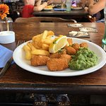 Scampi, chips and mushy peas