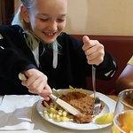 GF Weiner Schnitzel. Very happy girlie!