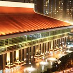 View from Cosmos Hotel of Taipei Main station during a tyhoon