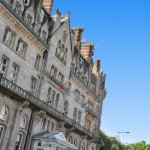 Lovely memory of our lovely hotel's dramatic Gothic facade