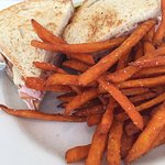 Sweet potato fries and turkey sandwich