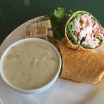 Phillips European Restaurant clam chowder and seafood salad wrap