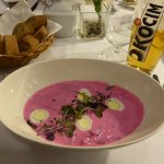 Creamed beetroot soup with quails eggs