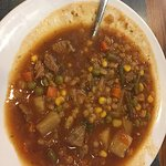 slopped soup (brought to the table this way)