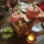 Toasting watermelon margaritas and enjoying the guac!