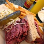 Amazingly thick smoked meat sandwich. I had to lay it down on its side to tackle it..