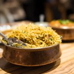 Selection of Indian rice and curries at Mumbai Junction Indian Restaurant in Harrow
