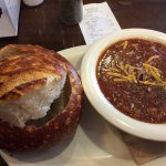 Chili with sourdough bread bowl on the side.