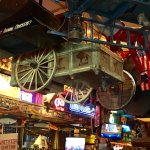 full size wagons hang from the ceilings
