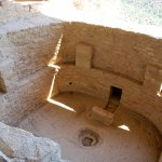 A ceremonial room called a Kiva (now open and cleared of debris).