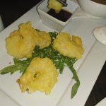 Great starter - wantan prawns served with miso soup